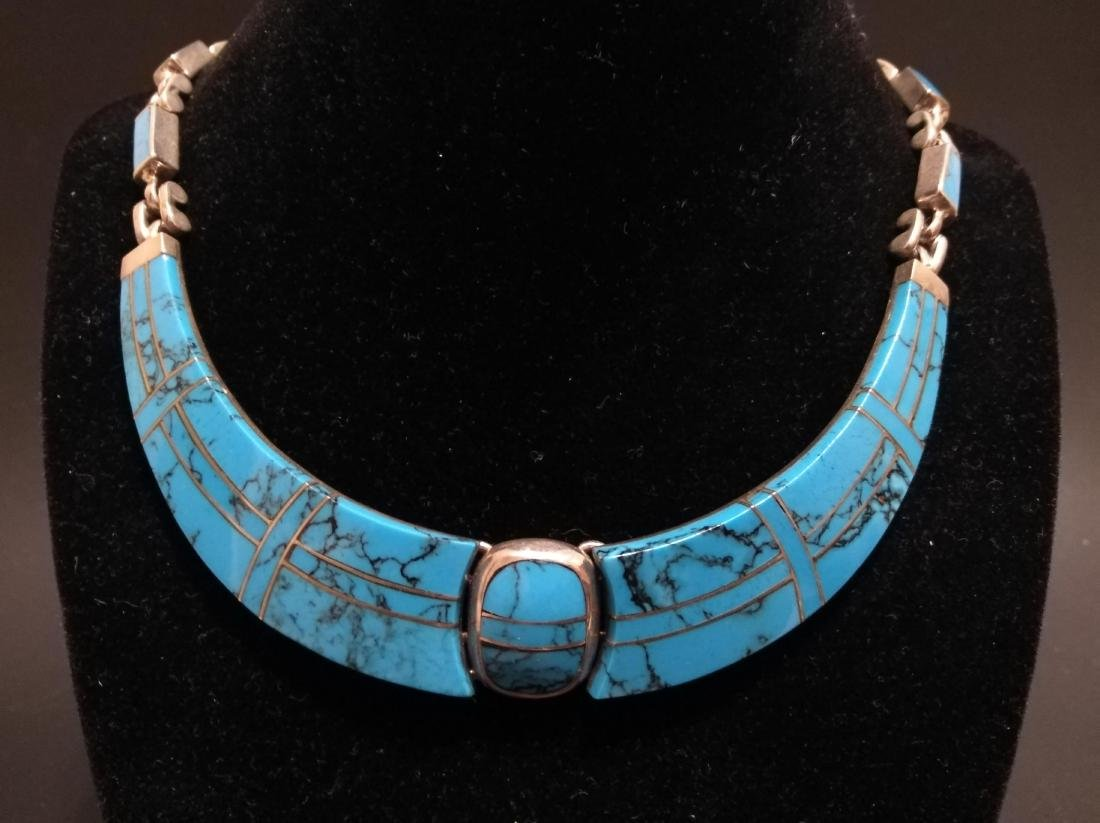 Taxco Mexico sterling silver 950 turquoise necklace