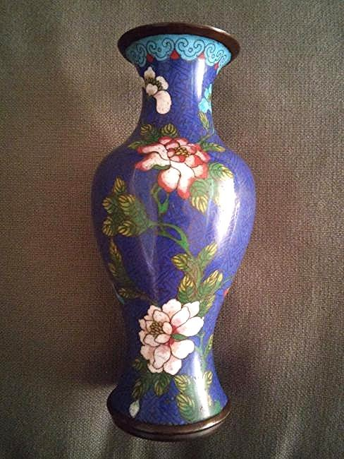 Qing Chinese Floral Cloisonne Vase