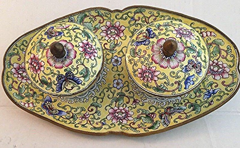 Qing Chinese Cloisonne 5Piece Bowls And Tray Set Yellow