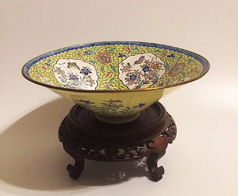 19th Chinese Cloisonne Brass Hand painted floral bowl