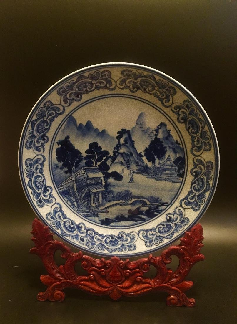 Chinese Antique Blue and White Porcelain tray