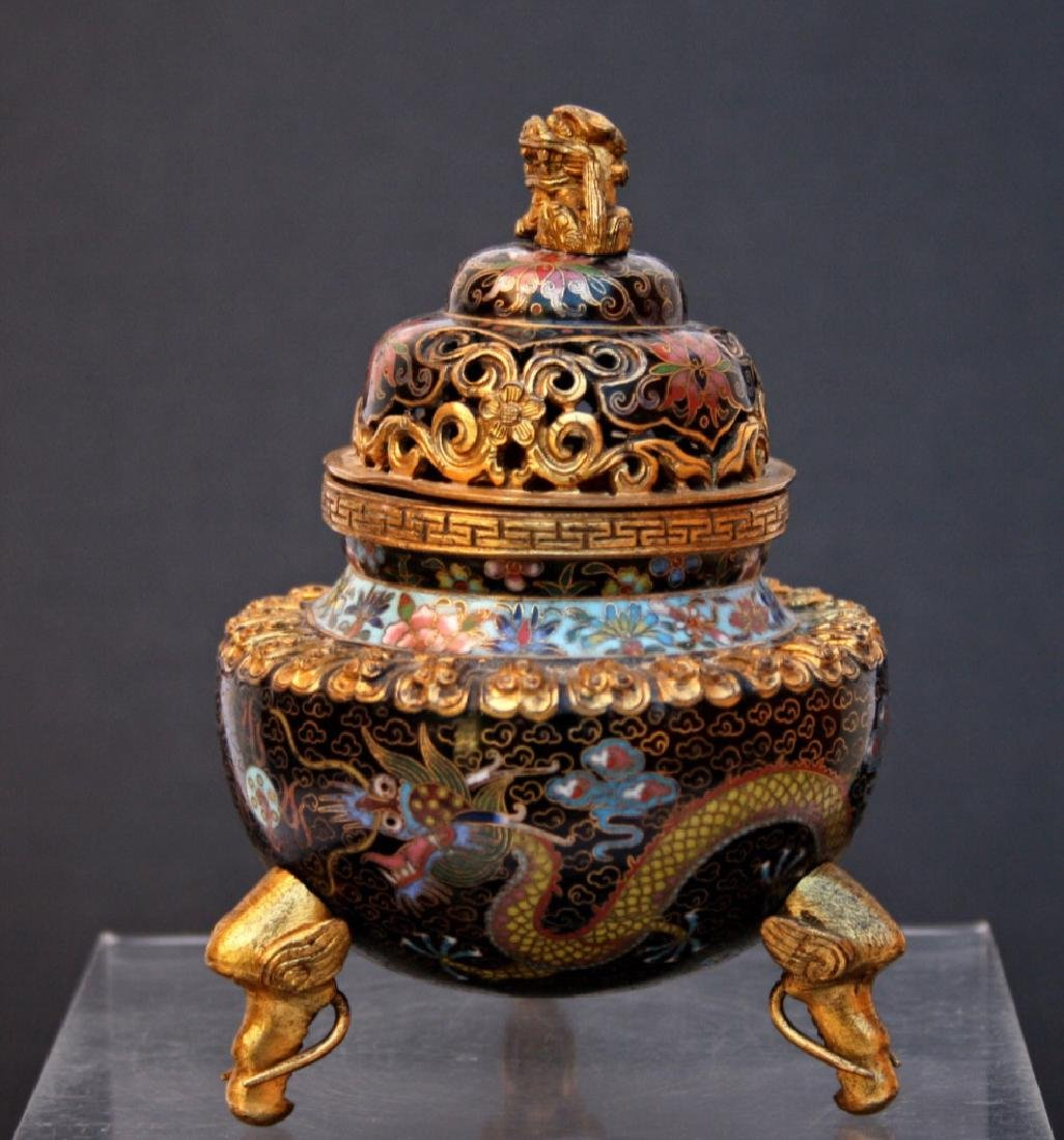 19th chinese cloisonne burner censer
