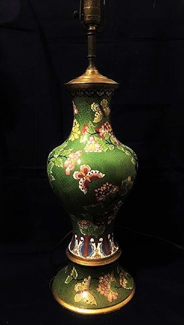 Antique Chinese Green Cloisonne vase lamp