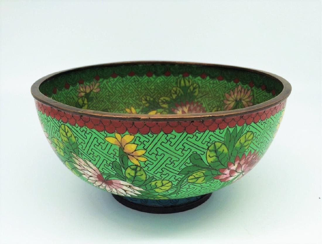 CHINESE 19TH C Green Cloisonne BOWL