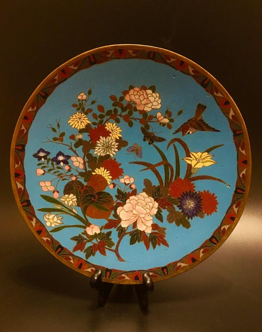 Antique Asian Cloisonne plate