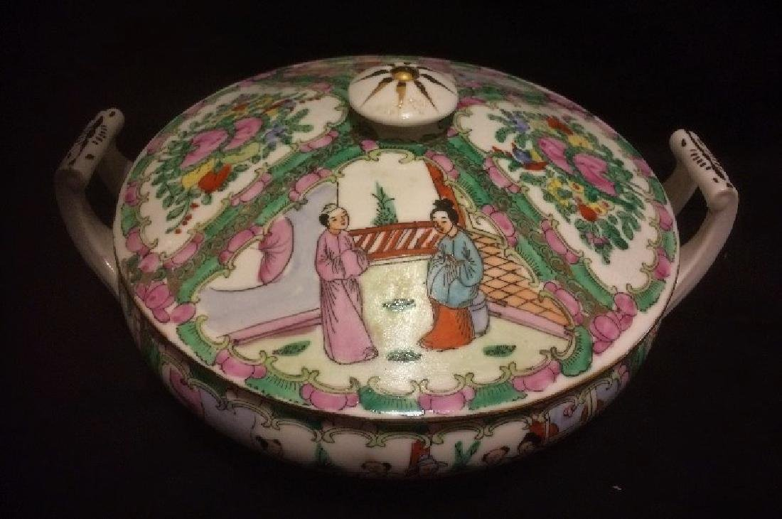Antique chinese porcelain rose medallion serving dish
