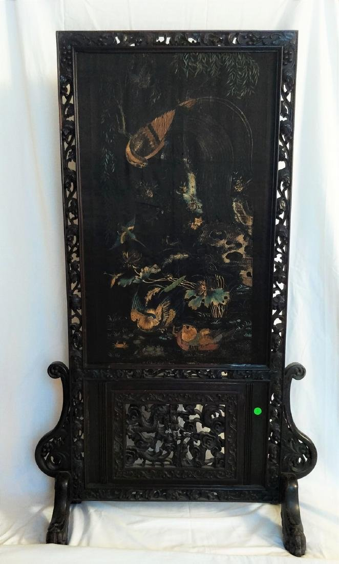 Qing Carved Chinese antique screen featuring fine