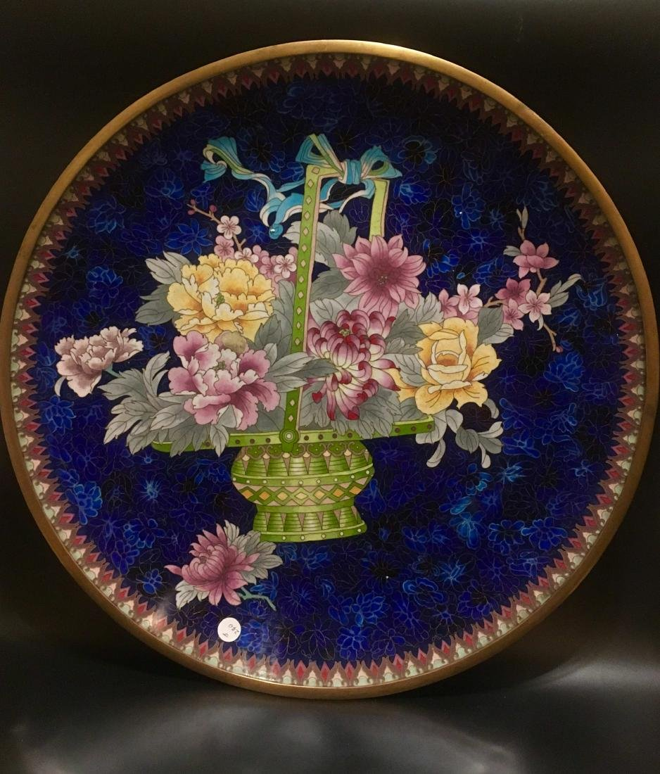 Cloisonne floral plate antique HUGE