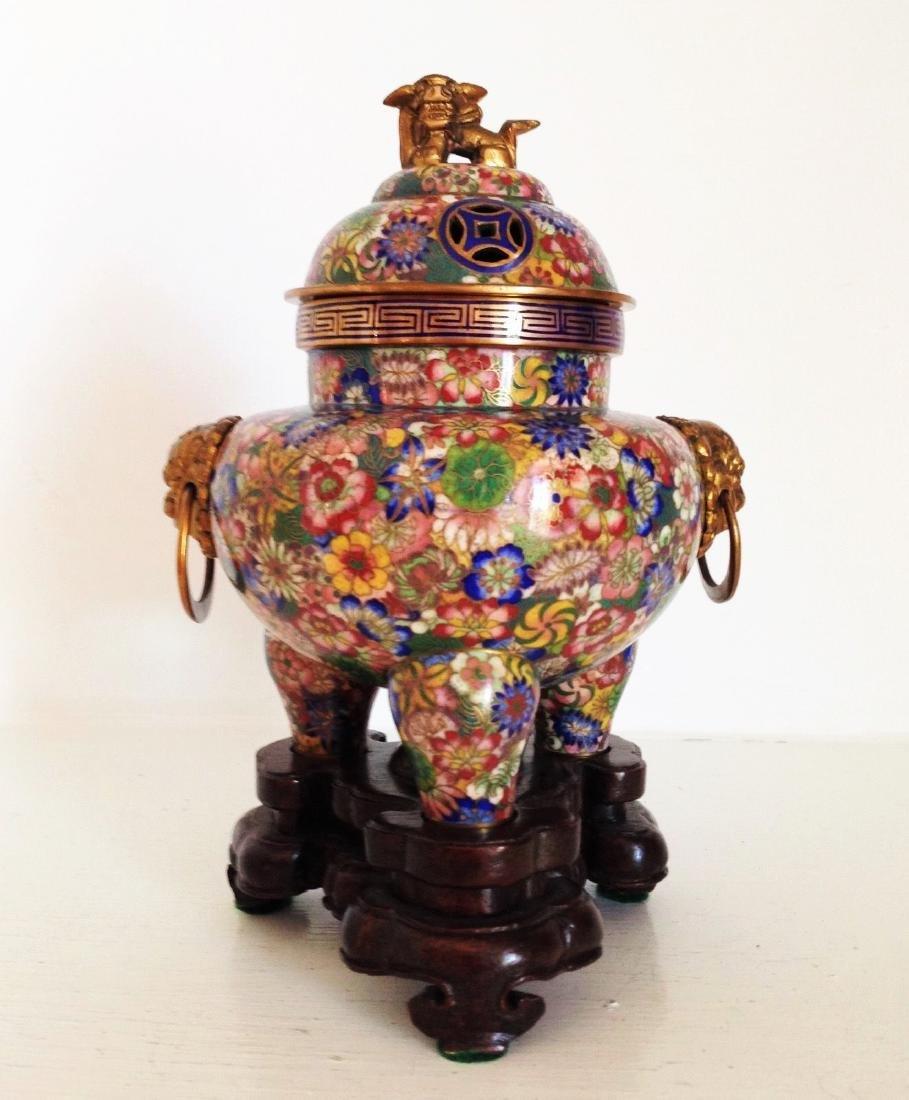Chinese Cloisonne Incense Burner Censer ~Thousand