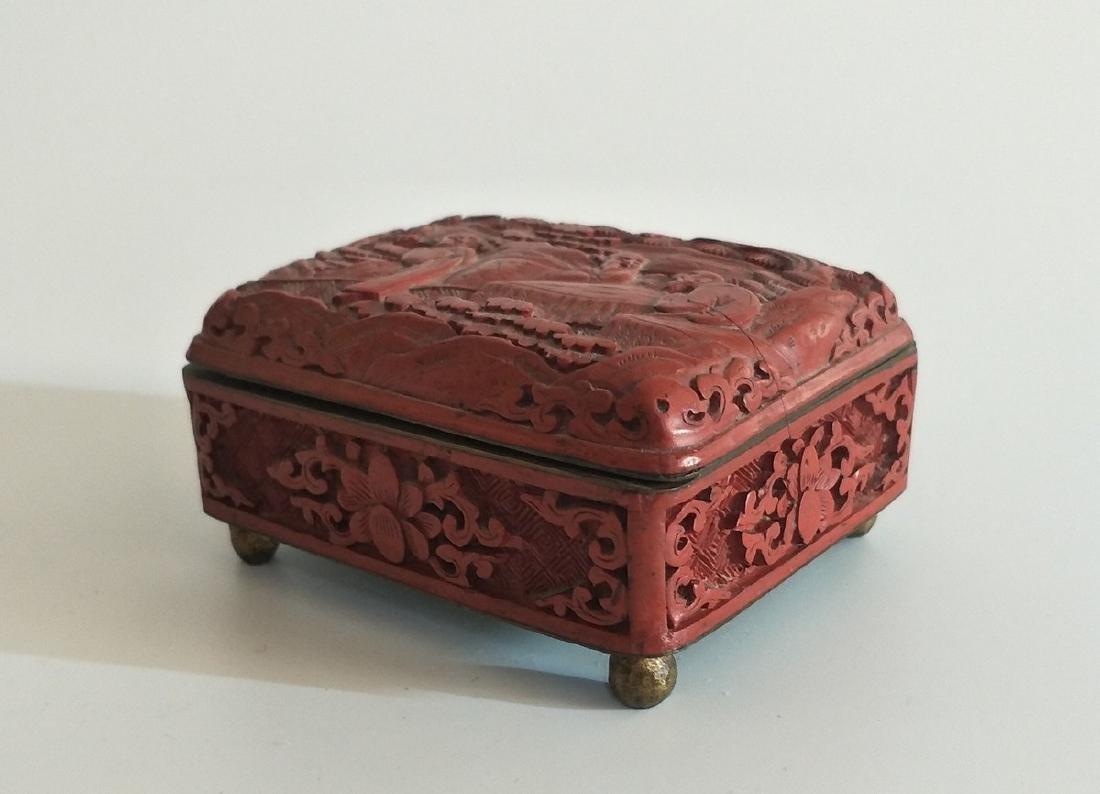 Chinese Carved Cinnabar Box