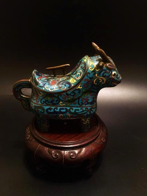 19th Chinese Qing dynesty  Cloisonne Animal Covered Jar