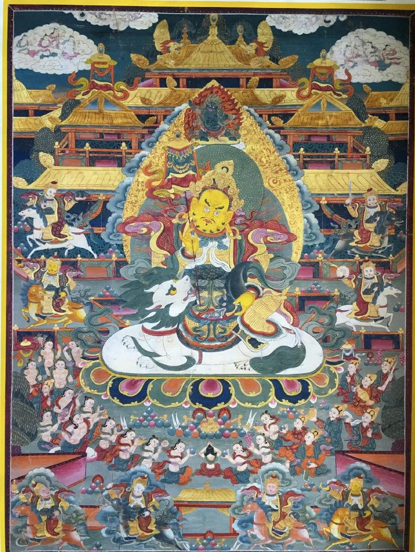 Antique Tibetan Thangka painting guardian 24X32