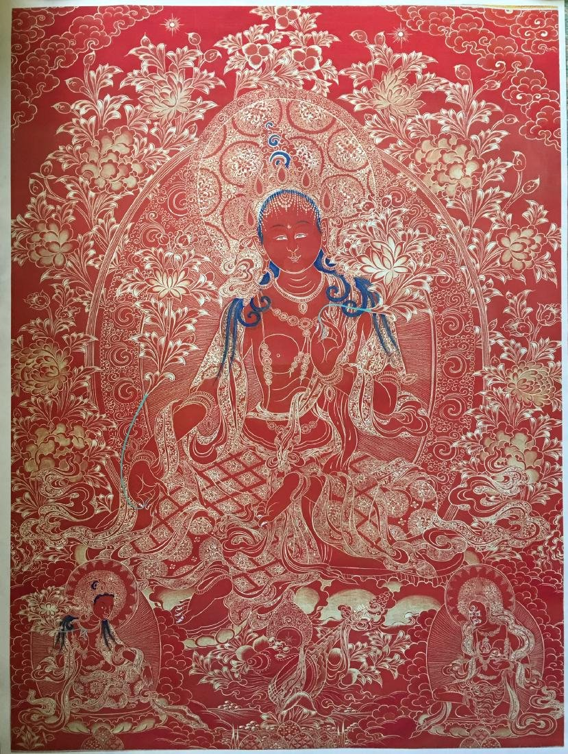 Tibetan Thangka painting red buddha 24.5X33