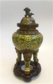 19th Antique Chinese Cloisonne Burner Censer with Foo