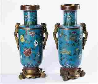 17th~18th PAIR Big Chinese Cloisonne Vase with Dragon