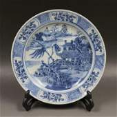 Chinese Export Antique Blue and White Porcelain tray