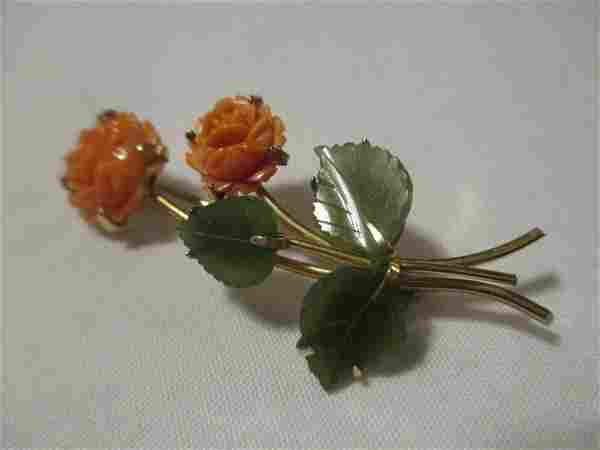 VINTAGE SIGNED CARVED CORAL AND GREEN JADE BROOCH/PIN