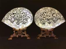 19th Chinese Mother of Pearl Shell on Stand