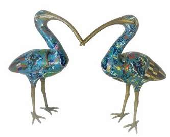 Super Big Pair Chinese Cloisonne Enamel Cranes