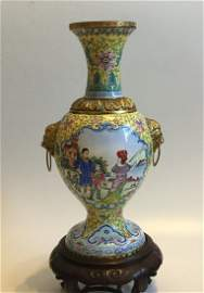 Antique Late Qing  Chinese Cloisonne Vase with handles