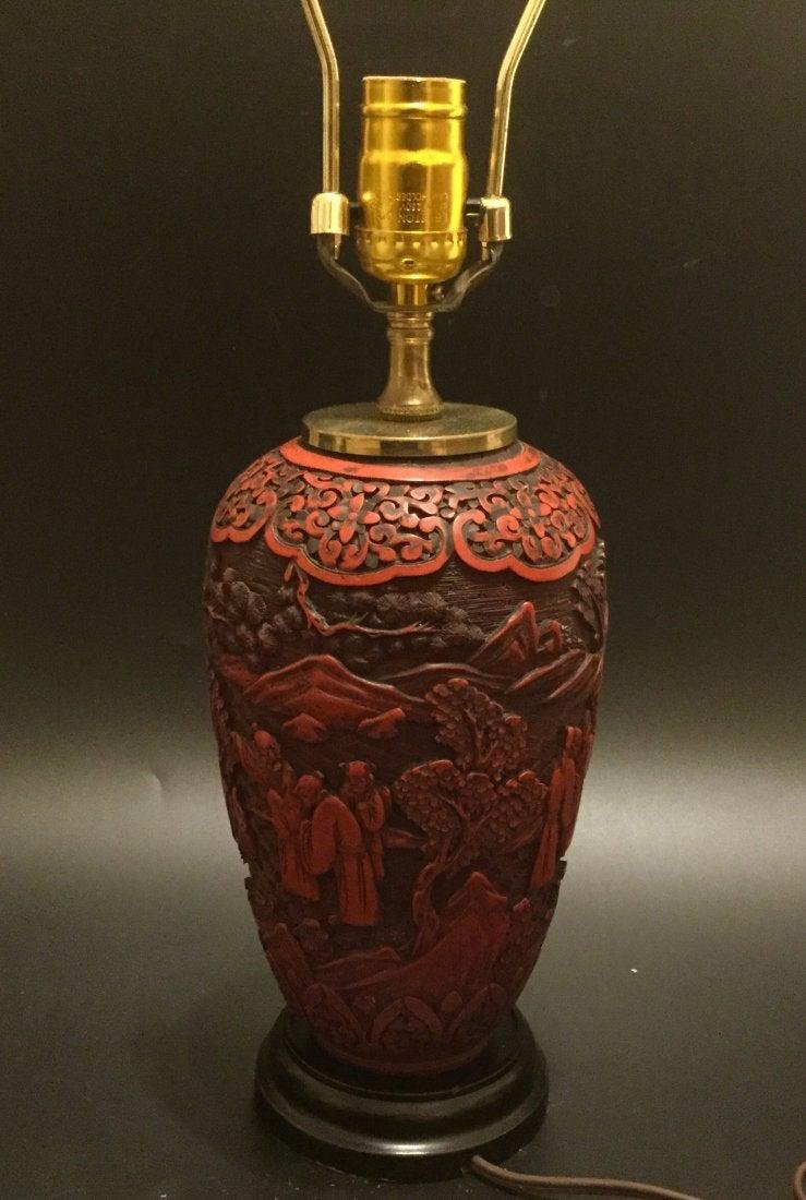 19th Chinese cinnabar carved vase lamp