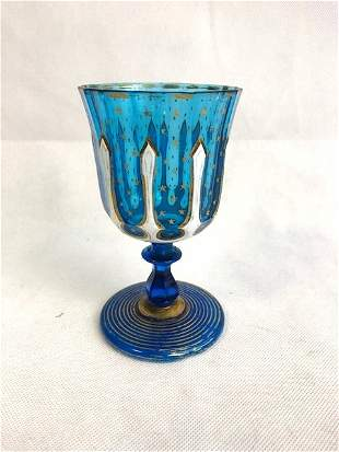 Bohemian blue and white goblet
