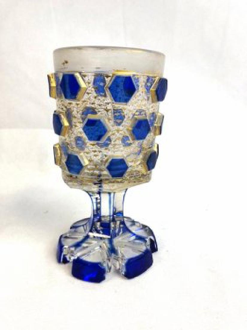 Bohemian blue and clear goblet
