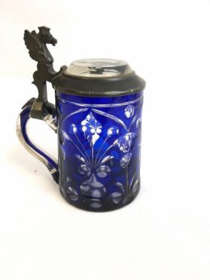 Bohemian glass blue tankard