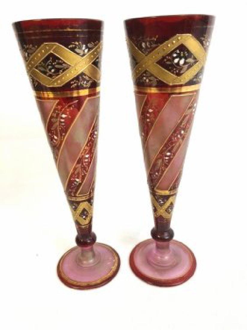 Pair of Bohemian vase