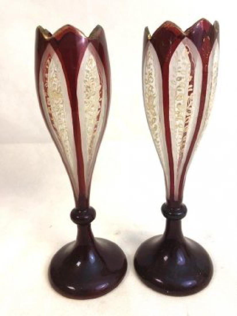 Pair bohemian ruby vase