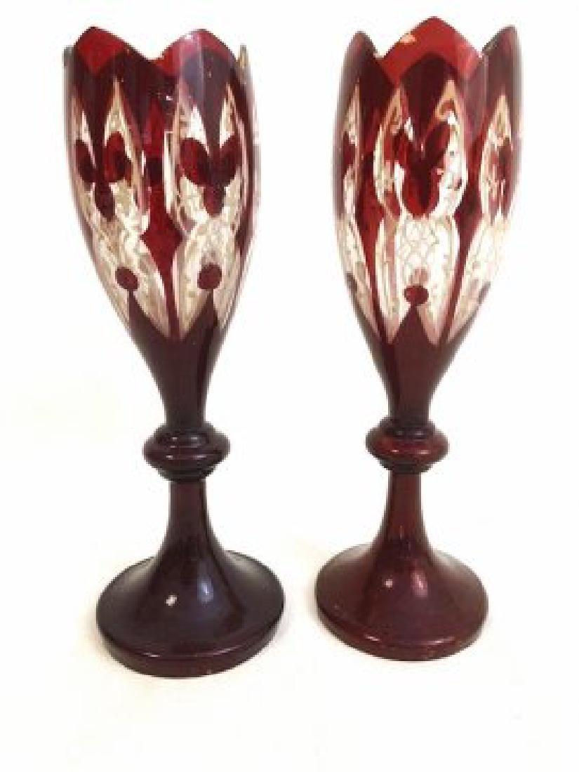 Pair of bohemian ruby vases