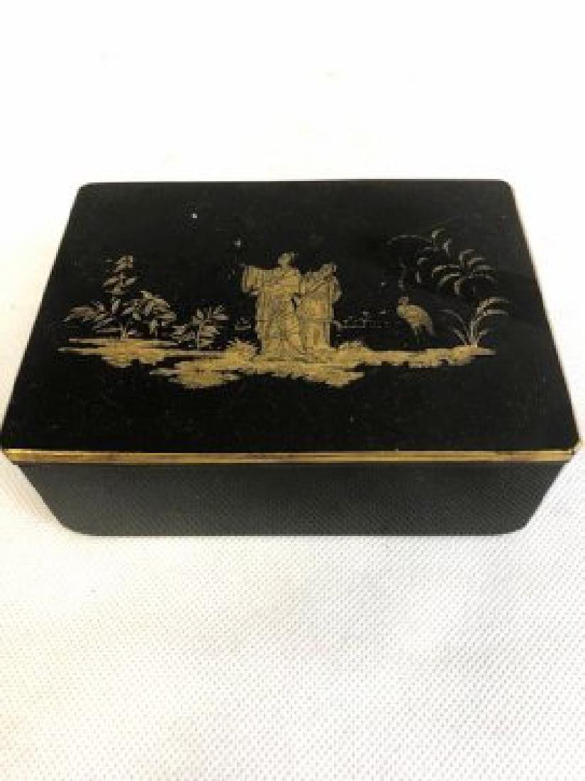 Bohemian glass black casket