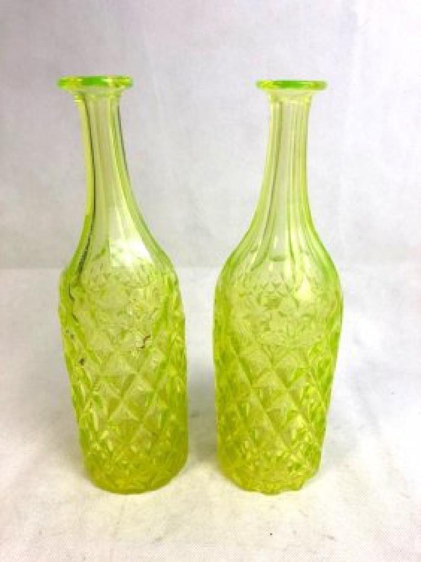 Pair of Uranium Vaseline Glass Bottle