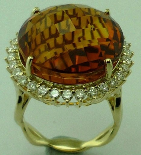 Diamond  Citrine Ladys Ring in 14KT Gold