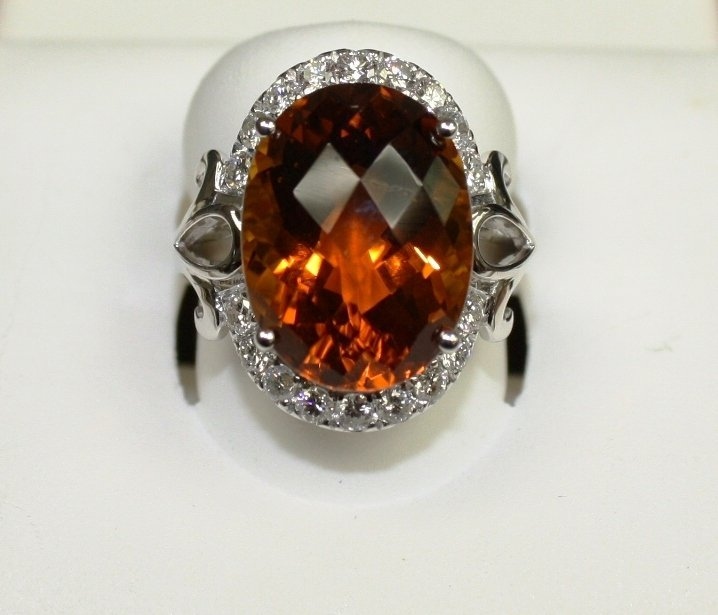 Diamond  Citrine Lady's Ring in 14KT Gold