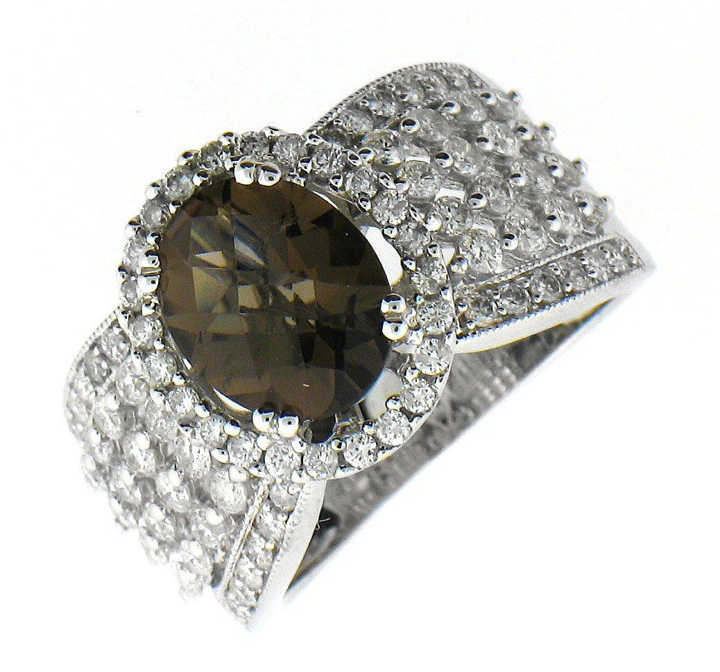 Diamond Golden Zircon Ring in 14KT Gold