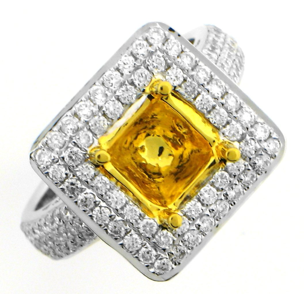 Diamond Canary Yellow Zircon Ring in 14KT Gold