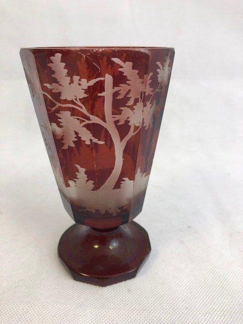 Bohemian engraved Deer Goblet