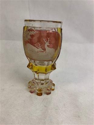 Bohemian Pink And Amber Goblet