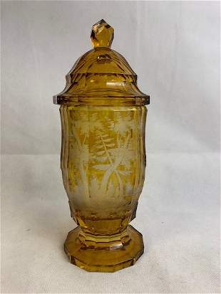 Bohemian Amber Goblet And Cover