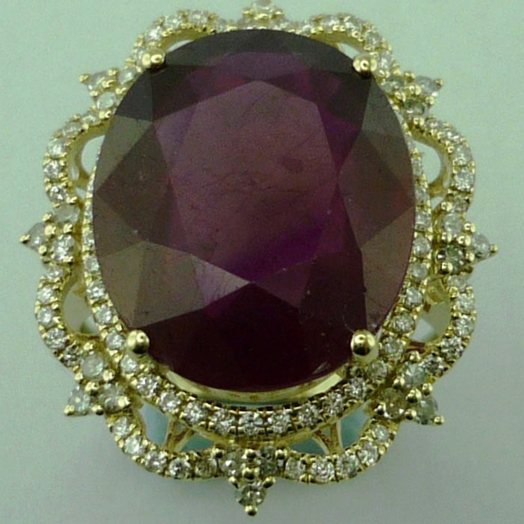 Diamond Glass-filled Ruby Ring in 14KT Gold