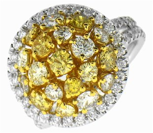 White  Fancy Color Diamond Lady's Ring in 14KT 2-Tone G