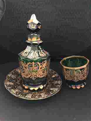 Magnificent Moser Decanter Plate And Goblet