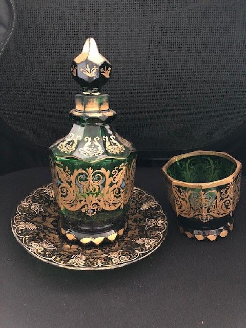 Magnificent Moser Decanter, Plate And Goblet