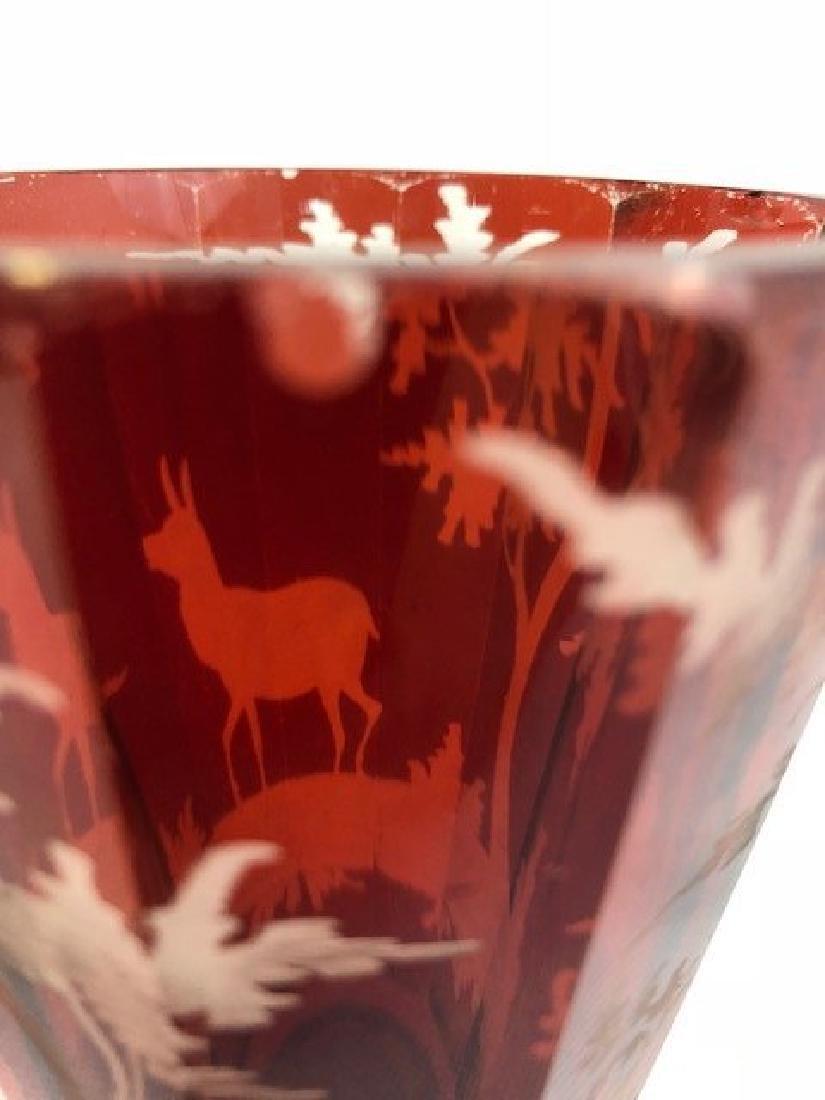 Bohemian engraved Deer Goblet - 3