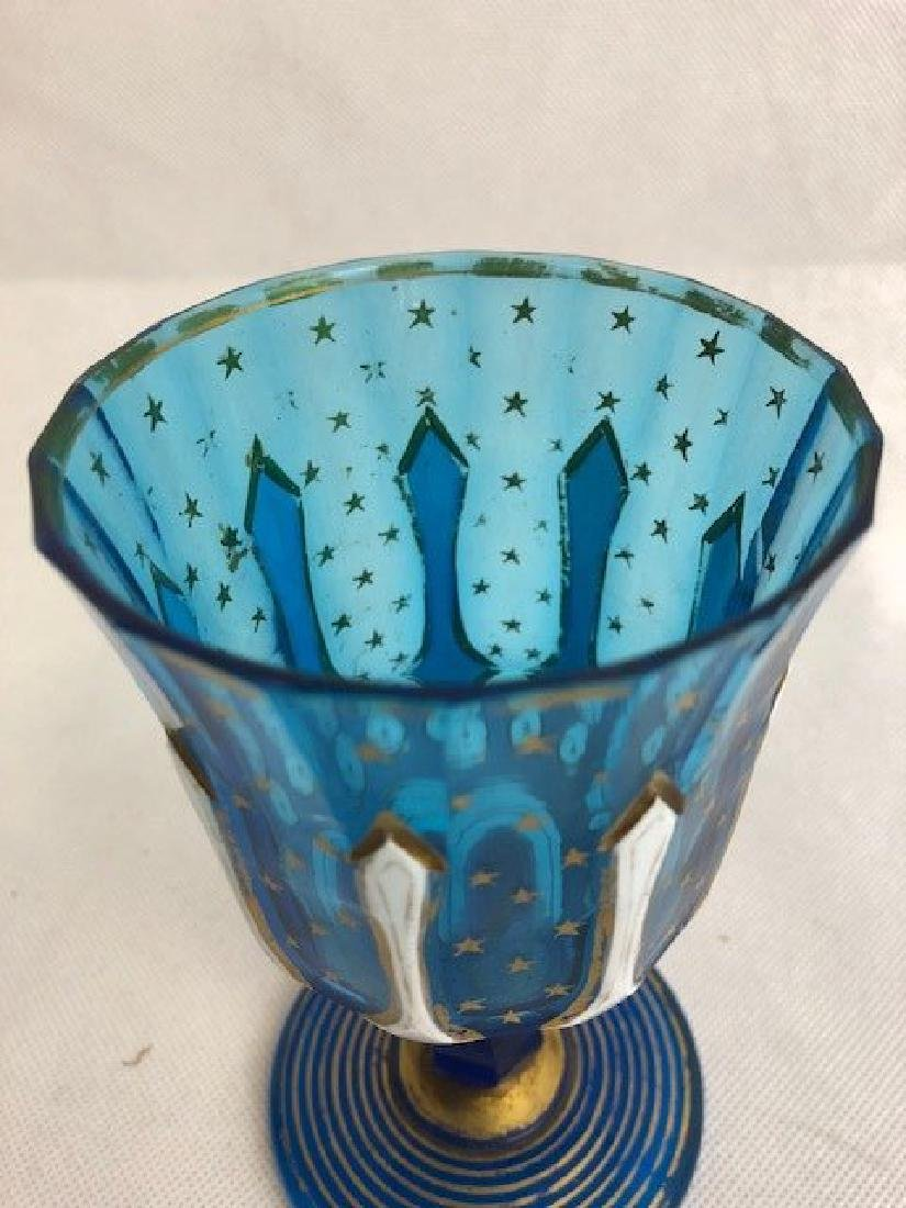 Bohemian Blue And White Goblet - 3