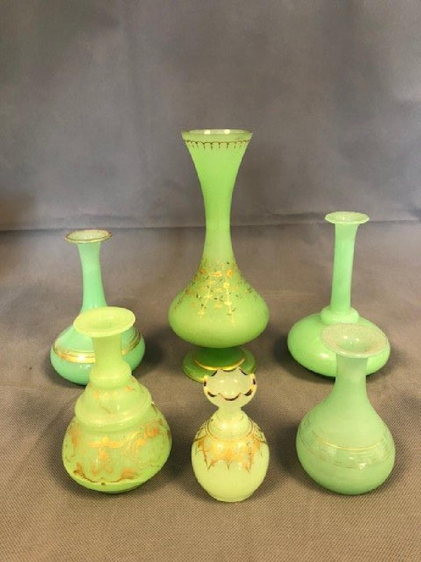 6 pieces of green french opaline