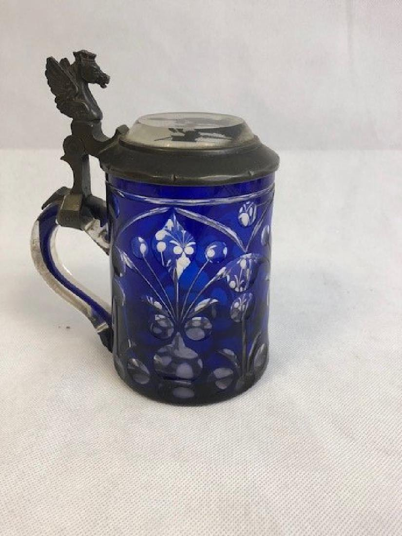 Bohemian Glass Blue Tankard