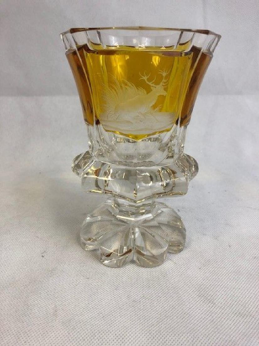 Bohemian  Amber And Clear Goblet