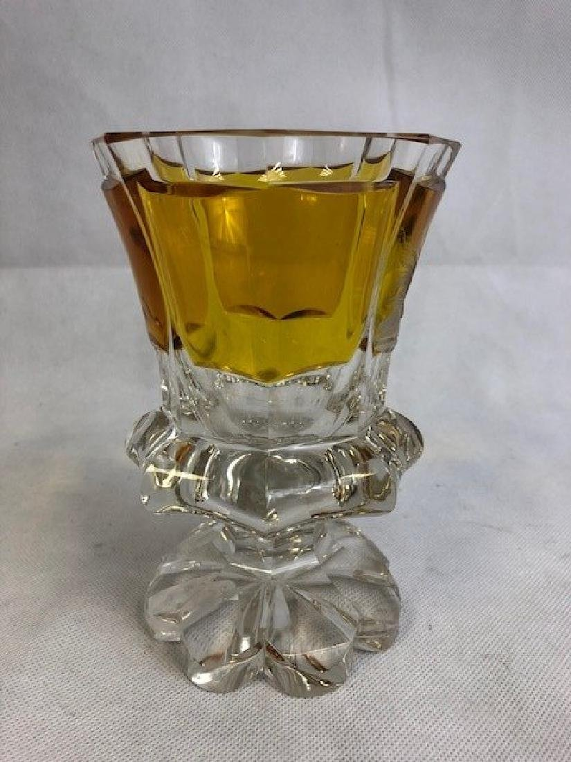 Bohemian  Amber And Clear Goblet - 2